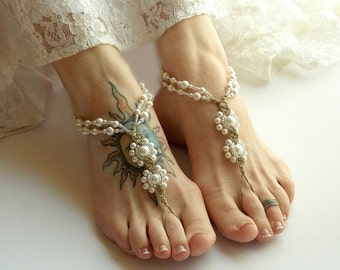 Pearl Barefoot Sandals, Wedding Sandals, Bride Sandals, Beach Wedding Shoes, Beach Bride Shoes, Pearl Wedding Shoes, Ivory or White