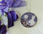 Floris & Florian -6- soft moonlight and wild roses-original print pendant.
