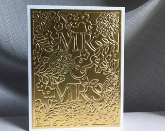 Gold Foil Mr. & Mrs. Wedding Card