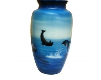Hand Painted Dolphins at Play Urn
