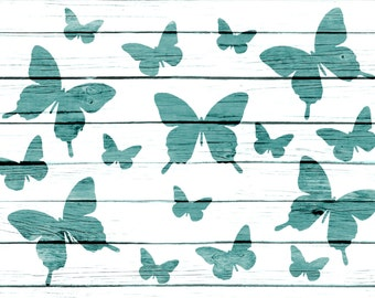 Re-usable Mylar Stencil RANDOM BUTTERFLYS,  Furniture, Fabric, French, Vintage, Shabby Chic