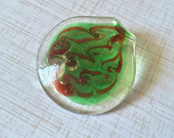 Blown Glass Pendant Green/Clear Glass Art