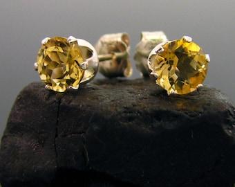 Citrine earring , citrine stud earring, natural citrine studs 5 mm
