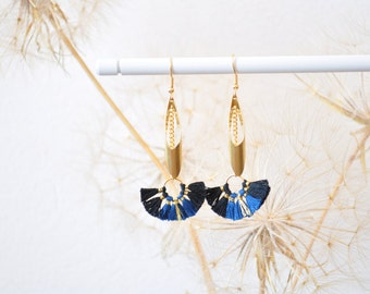 "Earrings ""Pankhadi-tasted"" - Midnight blue -."