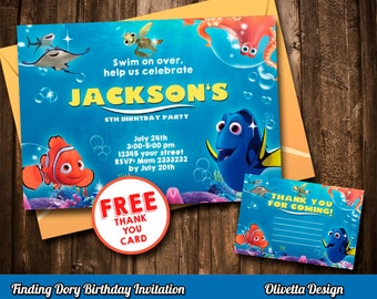 Finding Dory Invitation, Finding Dory Invite, Printable Finding Dory Invite, Finding Dory Birthday Invitation Nemo Digital File