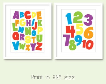 alphabet numbers print digital download printable playroom wall art set colorful kids room wall decor primary rainbow colors 123 abc pdf jpg