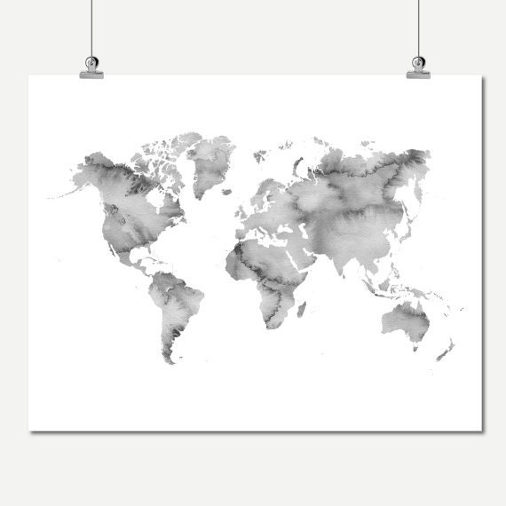 Watercolor world map print gray printable world map of the watercolor world map print gray printable world map of the world neutral colors wall decor digital print instant download world map poster gumiabroncs Images