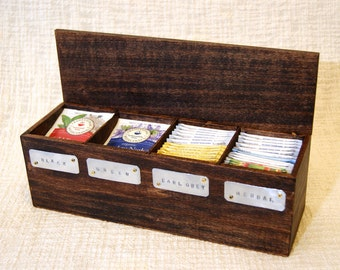 tea box, tea chest, wooden tea box, tea storage, tea bag box, tea gift box, personalized tea box, keepsake tea box, gift set tea