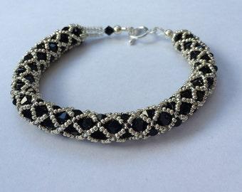 Spiral weave Swarovski elements bracelet - sterling silver clasp