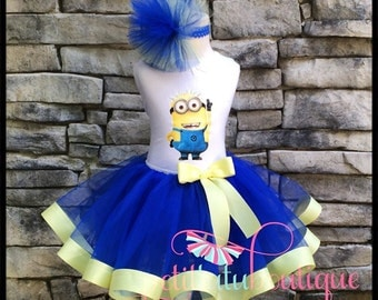 Minion Costume or Birthday Tutu set sizes 12m to 8y  * FREE Headband