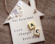 Our first home plaque, scrabble plaque, house warming gift, handmade hanging plaque. FREE POSTAGE