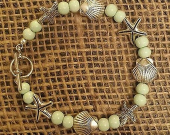 "Beach 8"" starfish seashell turquoise wire braclet"