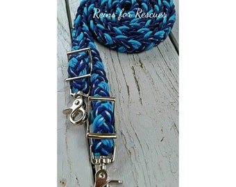 Navy, Winter Camouflage & Turquoise Adjustable Riding Reins