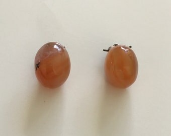 Vintage semi precious stone wire clip earrings