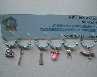 Dental Themed Wine Charms - Set of 6