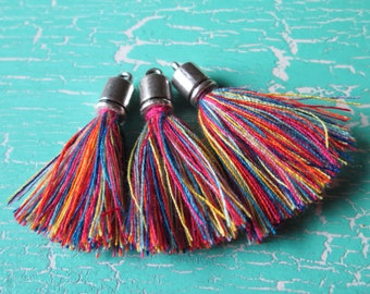 3 trailer * tassels with Cap * tassel * cotton * 35 mm * jewelry making