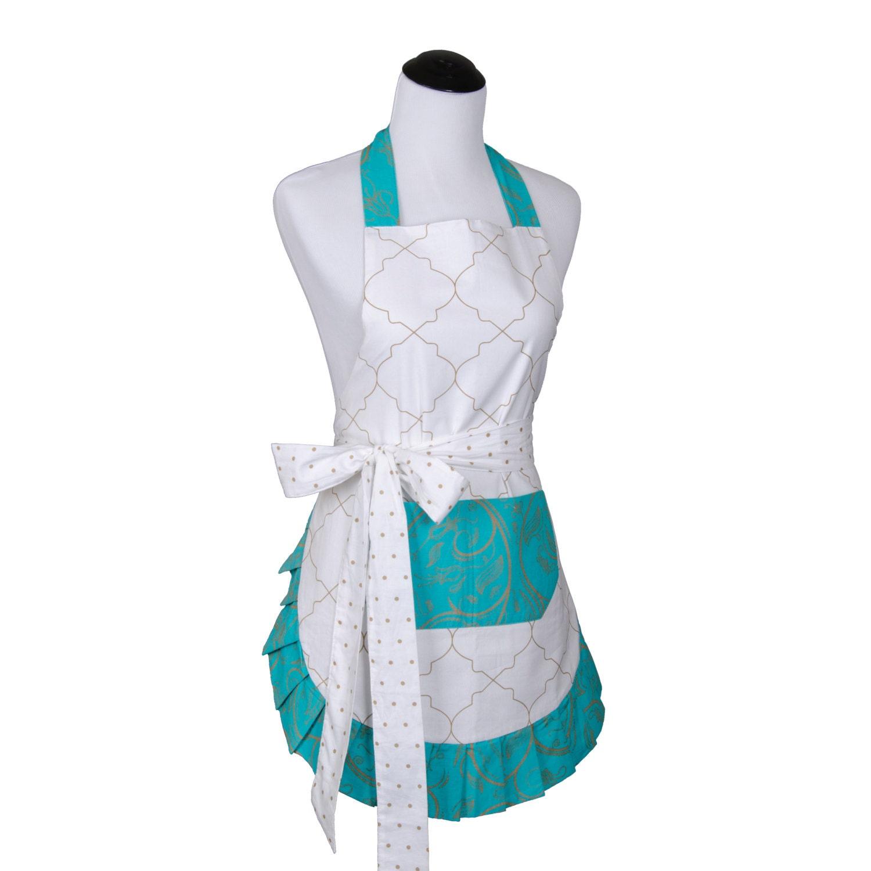 flirty apron women 39 s original teal moroccan apron. Black Bedroom Furniture Sets. Home Design Ideas