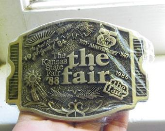 Vintage •1988 Kansas State Fair Belt Buckle | America | Made in USA