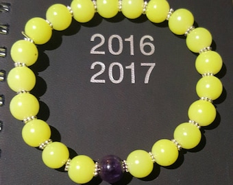 Amethyst and neon green stone bracelet