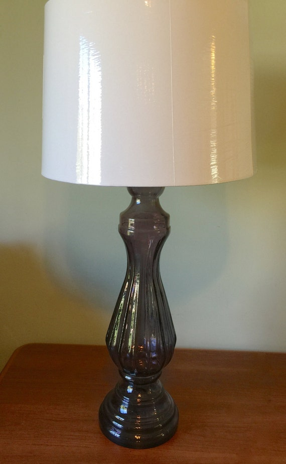 Purple Glass Table Lamp Pillar Table Lamp Large Table Light