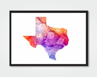 TEXAS Watercolor Print - 8.5x11 - TEXAS / USA Map Digital Print