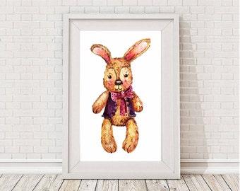 Watercolor rabbit clip art / Rabbit digital print