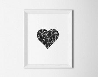 Geometric Heart, Black and White decor, heart Printable, Printable art, Heart Wall art, Modern art, Heart Print, modern decor