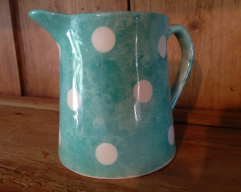 Hand Painted Milk Jug 10.5 cm Polka Dot Design Various Colours and Matching Kitchenware Available
