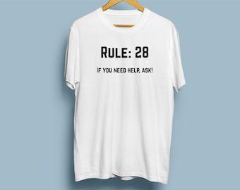 NCIS Leroy Jethro Gibbs' Rules T-shirt - Rule 28 - If you need help, ask!