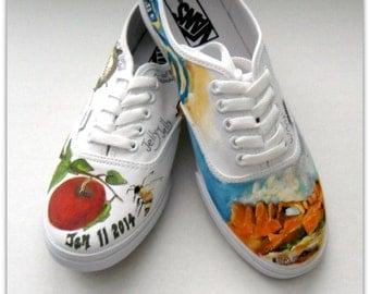 Wedding Shoes Hand Painted Vans White Wedding Shoes Wedding Vans Personalized Vans Bridal Shoes Customized Wedding Shoes Lace Ups
