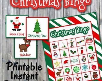 Christmas Bingo Printable Game - 30 different Cards - Christmas Memory Game - Party Game Printable - INSTANT DOWNLOAD