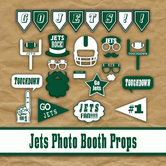 New York Jets Football Printable Photo Booth Props