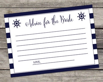 Nautical Advice for the Bride Cards - Bridal Shower Favors - Navy Blue - Instant Download Bridal-148