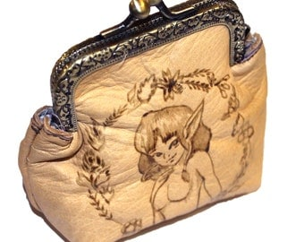 Leather purses pyrography Cute Fairy