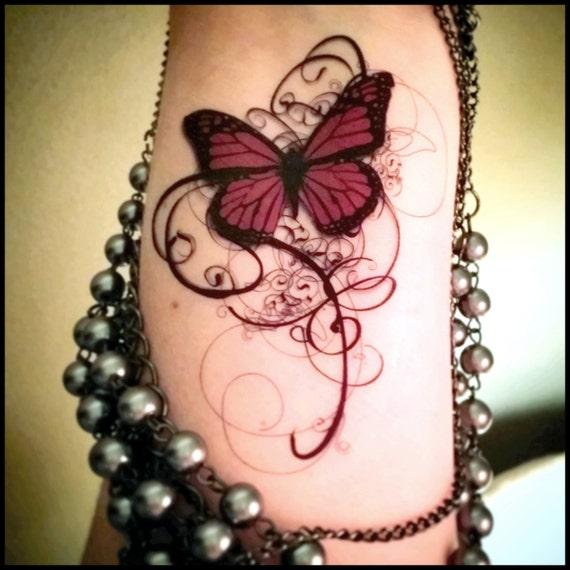 temporary tattoo gothic tattoo butterfly tattoo swirls deep. Black Bedroom Furniture Sets. Home Design Ideas