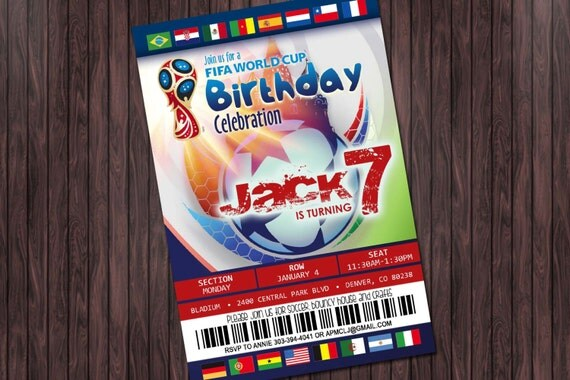 Soccer FIFA World Cup 2 Printable Birthday Party invitation