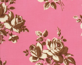 Pink Retro Floral Fabric |  Mid Century floral | Brown Rose Floral fabric Fat Quarter