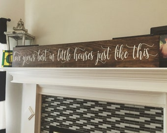 Love Grows Best In Little Houses Sign, Rustic Sign