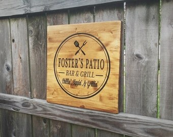 Custom Patio Sign, Bar and grill sign, Father's Day Gift, Gift for Him, Patio Decor,  Housewarming Gift, Patio