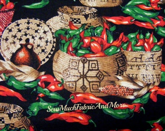 Last piece~3/4 yd~Southwest peppers basket fabric~red & green chili peppers~~southwestern~corn~cotton