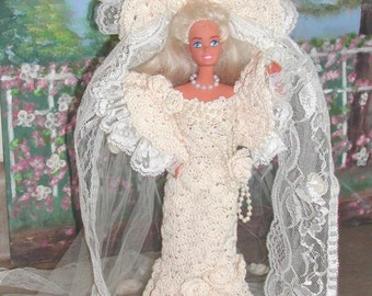 Crochet Fashion Doll Barbie Pattern- #11 TURN of the CENTURY BRIDE