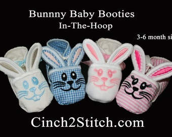 Bunny Baby Booties - In The Hoop - Machine Embroidery Design Download - (3-6 month size)