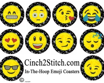 "Emoji Coasters - recycled CDs - 100% In The Hoop - Machine Embroidery Design Download (5"" x 7"" Hoop)"