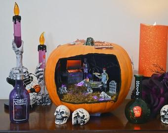 Halloween Diorama, Halloween Miniature, Pumpkin Diorama, Halloween Table Decoration, Grillin' Time ,Ready to Ship!
