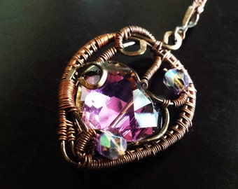 Wire Wrapped Iridescent-Purple Czech Glass Heart, Fantasy, Gothic, Victorian