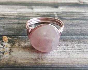 Rose Quartz Semi Precious Stone Ring Wire Wrapped in Rose Plated Copper