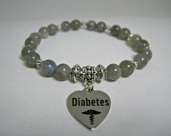 Diabetic Labradorite Bracelet, Diabetic Medical Bracelet, Grey Diabetic Jewel, Diabetes Beaded Bracelet, Diabetic Charms, Medical Bracelet