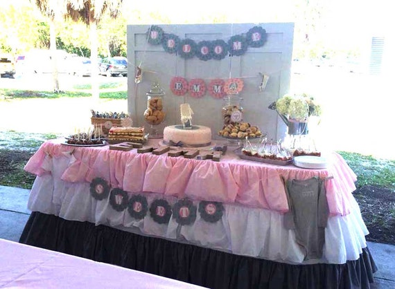 Pink White Grey Ruffled Tablecloth Bridal Shower Table