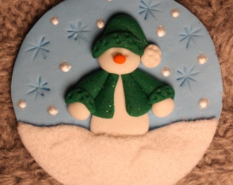 Winter Scene clay/fimo embellishment/magnet BUY any 5 GET 1 FREE
