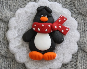 Penguin on the snow magnet/card topper polymer clay/fimo BUY any 5 GET 1 free